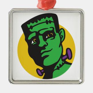 Frankenstein Silver-Colored Square Ornament