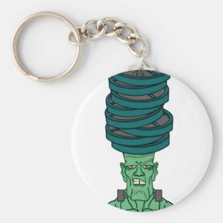 Frankenstein under weights basic round button keychain