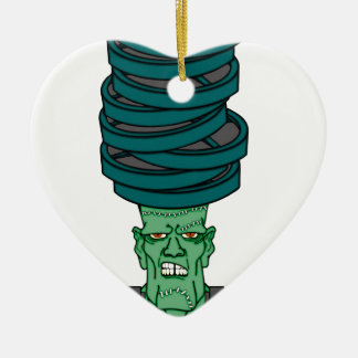 Frankenstein under weights ceramic heart ornament