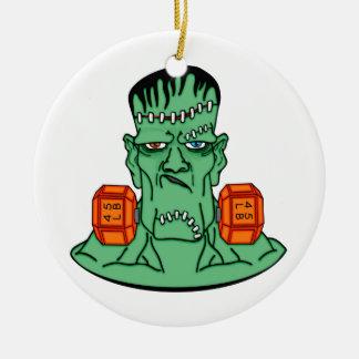 Frankenstein under weights round ceramic ornament