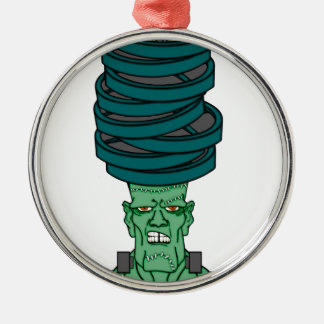 Frankenstein under weights Silver-Colored round ornament
