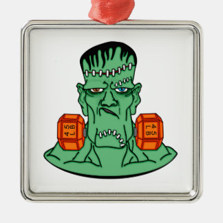 Frankenstein under weights Silver-Colored square ornament