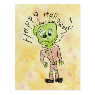 Frankenstein's Halloween Postcard