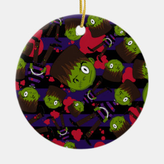 Frankensteins Monster Patterned Oernament Round Ceramic Ornament