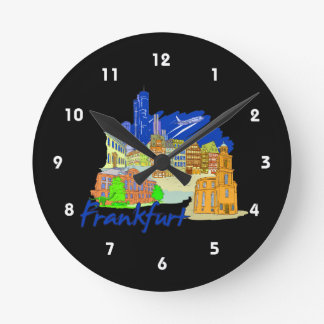 frankfurt city blue  travel vacation design.png wall clock