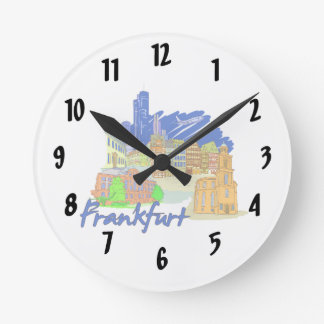 frankfurt city blue  travel vacation design.png wall clocks