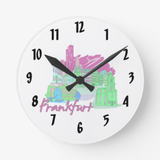 frankfurt city maroon  travel vacation design.png wallclock