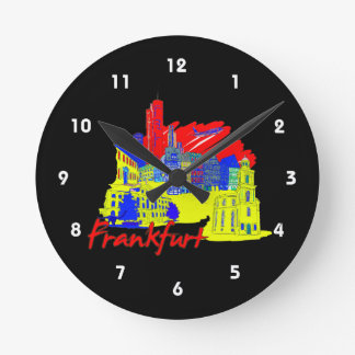 frankfurt city primary  travel vacation design.png wall clocks
