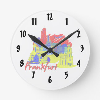 frankfurt city primary  travel vacation design.png wallclock