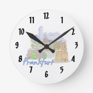 frankfurt city travel vacation design.png wallclocks