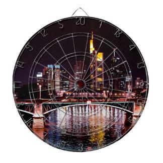 Frankfurt Cityscape at Night Dartboard