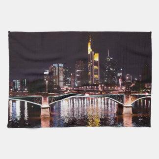 Frankfurt Cityscape at Night Kitchen Towel