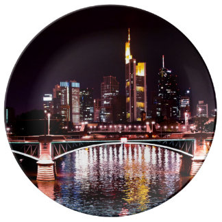 Frankfurt Cityscape at Night Plate