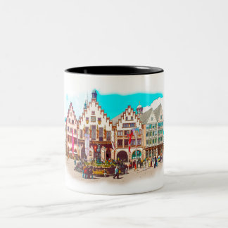 Frankfurt, Germany Romans, Market Place Two-Tone Coffee Mug