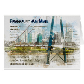 Frankfurt panorama. Skyscrapers, iron bar Card