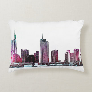 Frankfurt, Skyscraper Architecture - illustration Accent Pillow