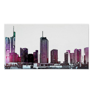 Frankfurt, Skyscraper Architecture - illustration Poster