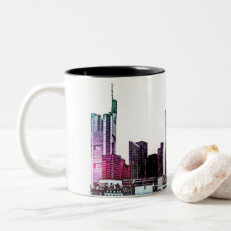 Frankfurt, Skyscraper Architecture - illustration Two-Tone Coffee Mug