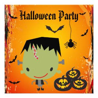 Frankie, Pumpkins, Bats & Spider Halloween Party Custom Announcement