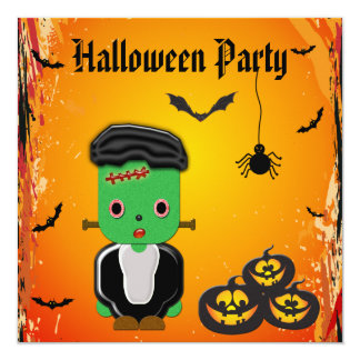 "Frankie, Pumpkins, Bats & Spider Halloween Party 5.25"" Square Invitation Card"