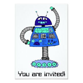 "Frankie Robot: Blue on white 3.5"" X 5"" Invitation Card"
