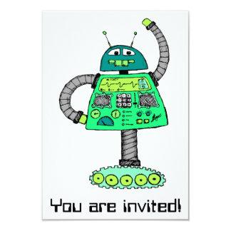 "Frankie robot, green on white 3.5"" x 5"" invitation card"