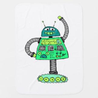 Frankie robot, green on white baby blanket