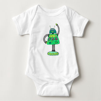 Frankie robot, green on white baby bodysuit