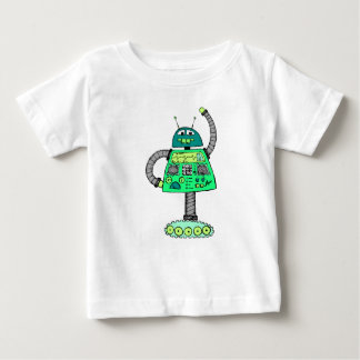 Frankie robot, green on white baby T-Shirt