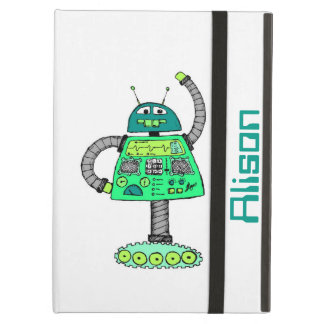 Frankie robot, green on white cover for iPad air