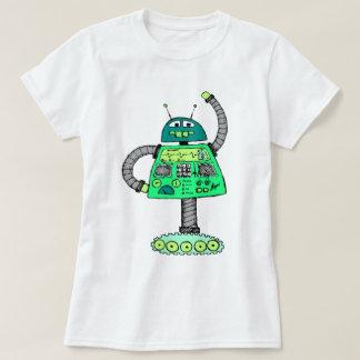 Frankie robot, green on white T-Shirt