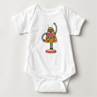 Frankie robot, orange on white baby bodysuit