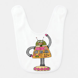 Frankie robot, orange on white bib
