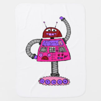 Frankie Robot: Pink on white Baby Blanket