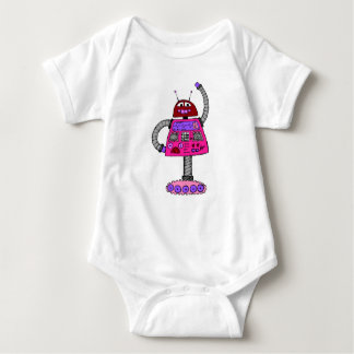 Frankie Robot: Pink on white Baby Bodysuit