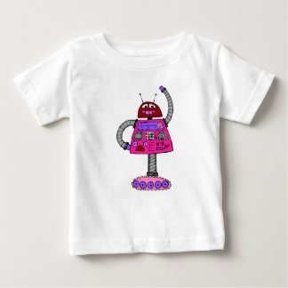 Frankie Robot: Pink on white Baby T-Shirt