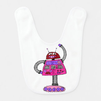 Frankie Robot: Pink on white Bib