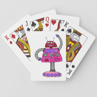 Frankie Robot: Pink on white Poker Deck
