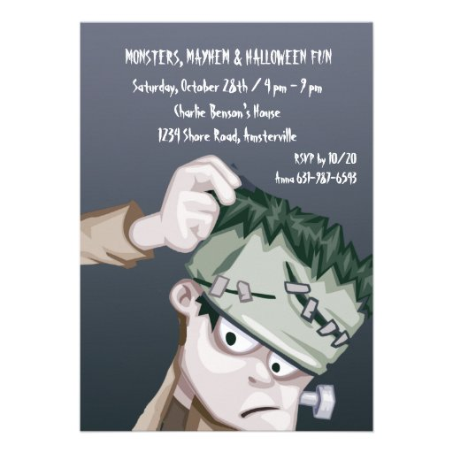 Frankie the Monster Halloween Party Invitation