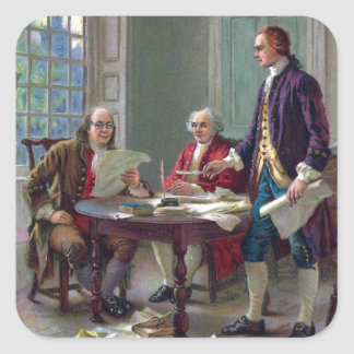 Franklin, Adams and Jefferson In Philadelphia 1776 Square Sticker