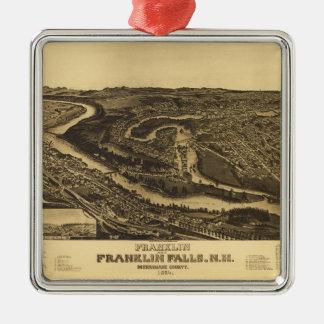 Franklin and Franklin Falls, New Hampshire (1884) Metal Ornament