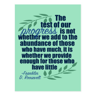 Franklin D. Roosevelt on Progress Quote Postcard