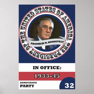 Franklin D. Roosevelt Presidential History Retro Poster