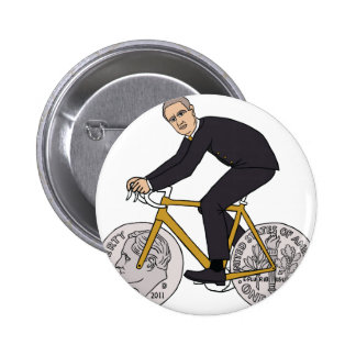 Franklin D Roosevelt Riding Bike With Dime Wheels 2 Inch Round Button