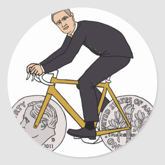 Franklin D Roosevelt Riding Bike With Dime Wheels Classic Round Sticker