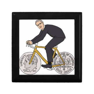 Franklin D Roosevelt Riding Bike With Dime Wheels Jewelry Box