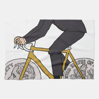 Franklin D Roosevelt Riding Bike With Dime Wheels Kitchen Towel