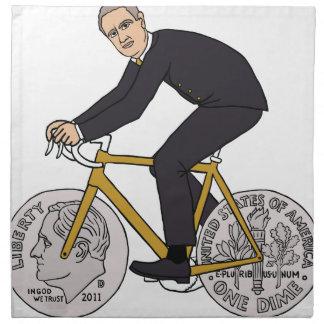 Franklin D Roosevelt Riding Bike With Dime Wheels Napkin