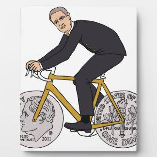 Franklin D Roosevelt Riding Bike With Dime Wheels Plaque