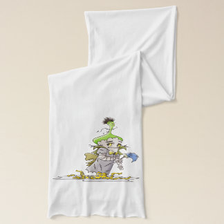 FRANKY ALIEN CARTOON Jersey Scarf Heather WHITE
